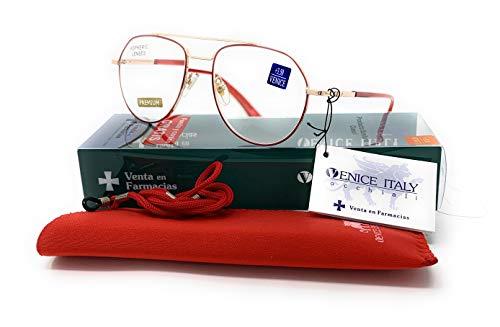 Gafas de lectura Mujer Moda Diseño Piloto en Colores: Verde, Rojo. VENICE - Dioptrías: 1 a 3,5 (Rojo, 1,00)