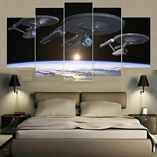 GHYTR 5 Piezas Flota De Star Trek Enterprise Impresión De La Lona Pintura Arte De La Pared Cartel Moderno Decoración del Hogar Sala De Estar Imágenes Navidad Regalos 150X80Cm