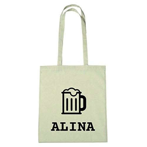 JOllify Baumwolltasche - Happy Birthday für ALINA - Bier Gruß