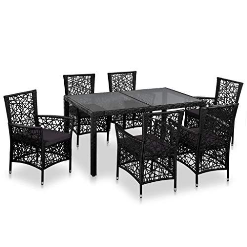 Festnight Jeu de Mobilier de Jardin 7 pcs 1 Table et 6 Chaises en Résine Tressée pour Jardin, Patio ou Terrasse Noir