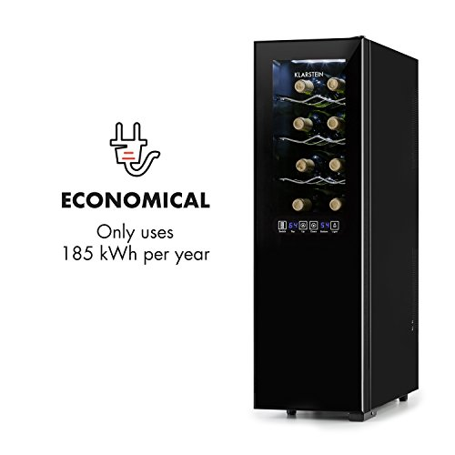 KLARSTEIN Bellevin Wine Cooler • Refrigerator • 1.6 Cubic Feet • 2 Cooling Compartments • 6 Shelves • Touch Control • Glass Front • LCD Display • Interior LED Lighting • Energy-Efficient • Black