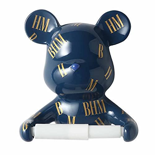 EHGF Buchstabe Bärenrolle Papierhalter Harzmaterial, Mehrzweck, schön und praktisch, geeignet für Küche/WC/Waschbecken/Esszimmer usw. Blue