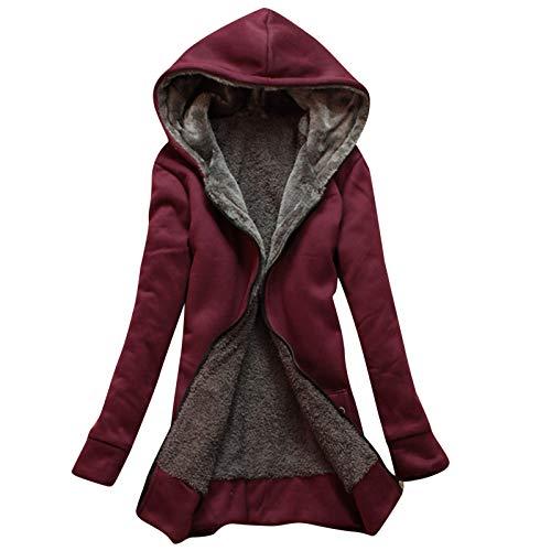 YinGTral Damen Winter warme Sherpa gefütterte Kapuze Sweatshirt Jacke Mantel