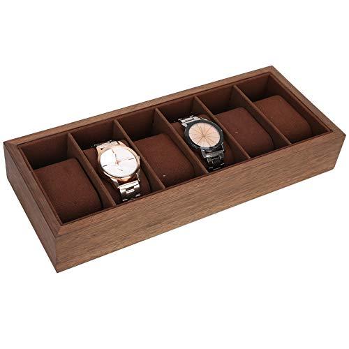 Pssopp Organizador de exhibición de Reloj de 6 Rejillas, Caja de Almacenamiento de exhibición de joyería de Reloj Caja de colección de Relojes Caja de exhibición de Madera Simple