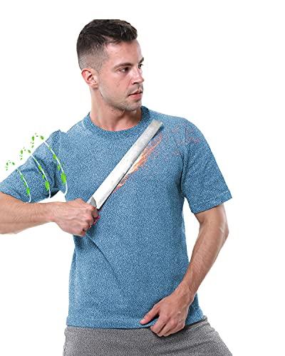 Chaleco Anti Cuchillo, Nivel 5 Camiseta anticorte, Elasticidad Material UHMWPE Mangas Cortas Protectoras para Guardaespaldas Escalada Roca,Short Blue,XL