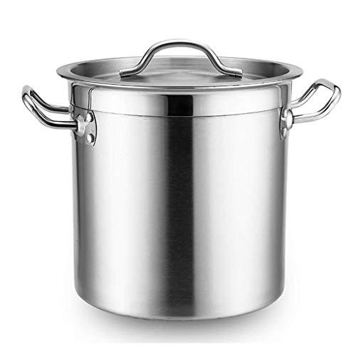 Cazos de Cocina, Ollas de sopa con tapa, olla común, comercial / doméstica Olla de sopa espesa de acero inoxidable 201 con tapa para estufa de gas / cocina de inducción (25-50 cm) (Tamaño: 50