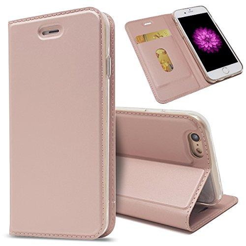 Copmob Funda iPhone 6 Plus/6S Plus,Premium Plegable Estilo Billetera Funda de Cuero,[Ranuras para Tarjetas][Cierre Magnético][Función de Soporte],Carcasa Case para iPhone 6 Plus/6S Plus - Rosa