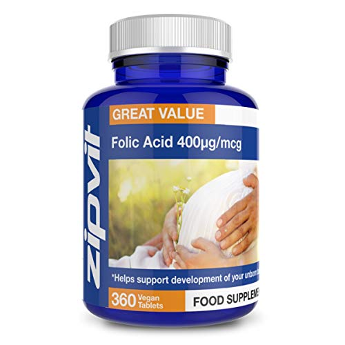 Folic Acid 400mcg, 360 Vegan Tablets. Supports Development of Your Unborn Child.
