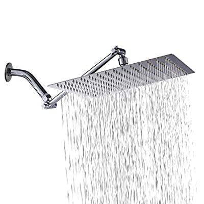 12 Inch Shower Head with Extension Arm - Sarlai Solid Square Ultra Thin 304 Stainless Steel Adjustable Rain Shower Head with Solid Brass 11 Inch Adjustable Extension Arm(Upgraded)