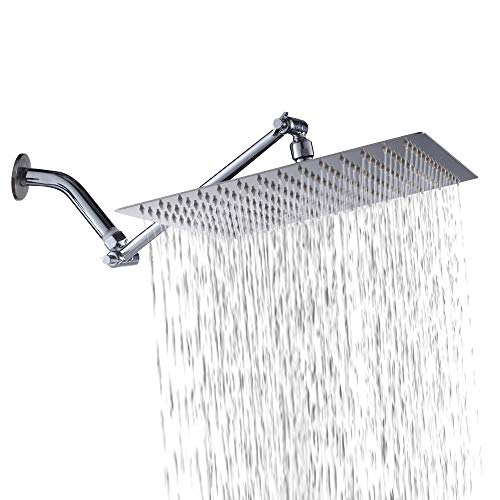 Square Shower Head - Sarlai 12 Inch Solid Square Ultra Thin 304 Stainless Steel Rain Shower Head with Solid Brass 11 Inch Adjustable Extension Arm, Chrome Finish