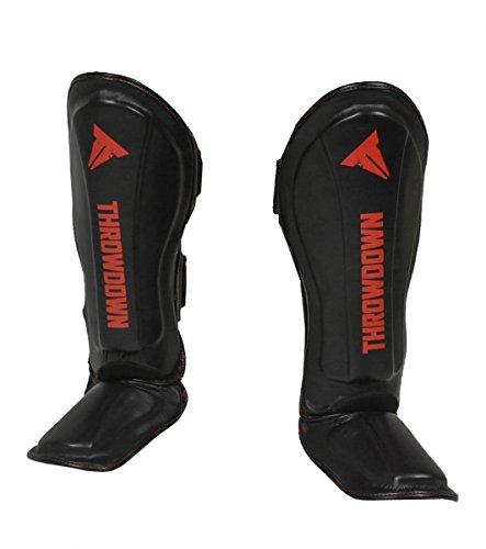 Throwdown Schienbeinschützer Predator - Leder - Kampfsport Muay Thai MMA Kickboxen Schienbeinschutz (L/XL)