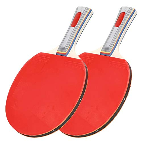 Cosiki Juego de Pelotas de Ping-Pong, Raqueta de Ping-Pong de 449 g, Equipo Deportivo de Goma con Dos murciélagos y Tres Pelotas, para Entrenamiento Escolar rudimentario para Principiantes