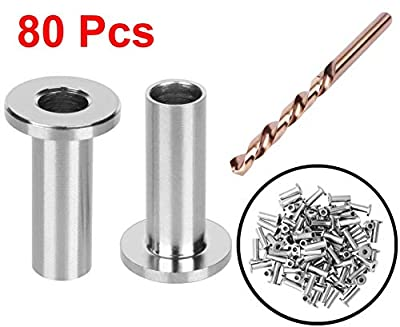 """CKE 80 Pack T316 Stainless Steel Protector Sleeves for 1/8"""" Wire Rope Cable Railing, DIY Balustrade T316 Marine Grade, Come with A Free Drill Bit"""