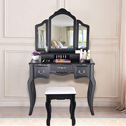 Kariwell Beauty Makeup Table - with 3 Mirror 5 Large Sliding Drawers Makeup Dressing Table with Cushioned Stool for Bedroom [Ship from US]