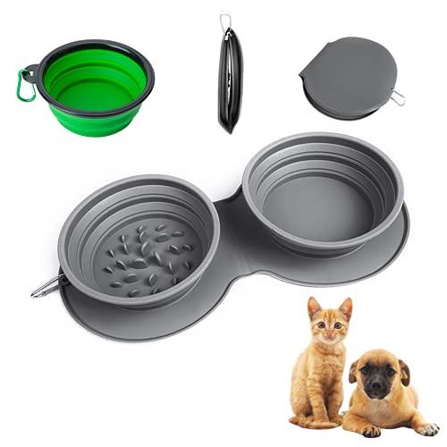 Siliconen hondenkom, opvouwbaar, reisdraagbare hondenkom voor kleine en grote honden, in hoogte verstelbare voederbak voor honden, voederbak, kat en voederbak hond met antislip siliconen schaalmatten.