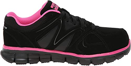 Skechers for Work Women's Synergy Sandlot Slip Resistant Work Shoe, Black/Pink, 6 M US