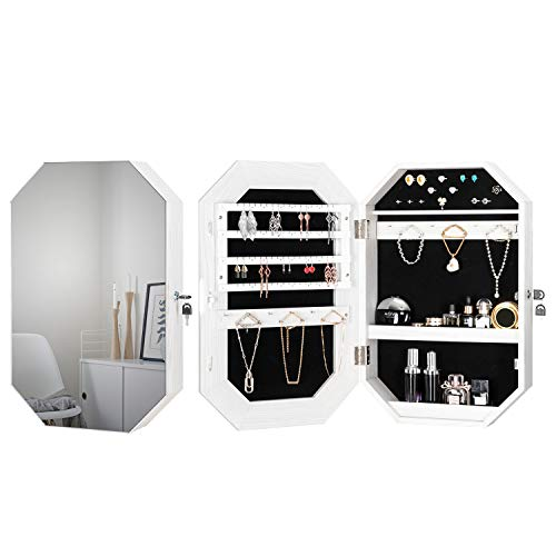 Bonnlo Modern Diamond-Shaped Jewelry Armoire Lockable Octagonal Jewelry Cabinet Organizer with Mirror Wall Mounted for Space Saving