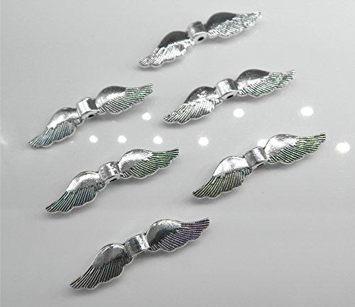 Perlenlädchen 40 große Flügel Engelflügel/Vogelflügel Flügelperlen 35mm Silber für Schutzengel Basteln