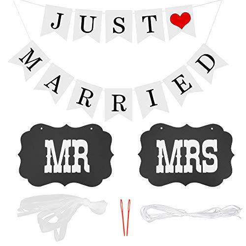 LOVEXIU Hochzeitsbanner-Just Married, Girlande Hochzeit, Hochzeitsfahne Banner 5M Länge, Hochzeitsfahne für das Auto,Außendekoration, Schwarz und weiß