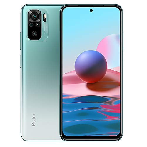 Xiaomi Redmi Note 10 Smartphone 4GB 128GB Teléfono,6.43' AMOLED DotDisplay,Snapdragon 678 Procesador (48MP+8MP+2MP+2MP) Quad Cámara,Dual SIM Card,Fingerprint and AI Face Unlock Versión Global(Verde)