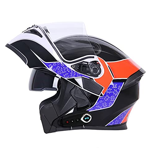 HSCDQ Nuevo Casco Bluetooth Flip Up Visor Dual Lens Casco Moto Cool Motocicleta Casco Casco Casco Black Motorbike Cascos modulares exc.tq (Color : Octopus K8 BT, Size : L)