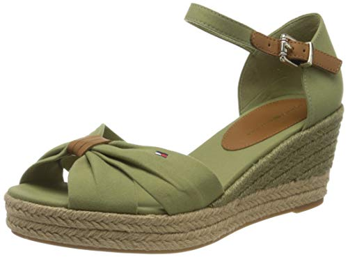 Tommy Hilfiger Basic Opened Toe Mid Wedge, Sandalias con Punta Abierta para Mujer, Verde (Faded Olive L9f), 41 EU
