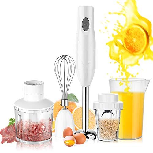 UHAPEER Stabmixer Set, 5-in-1 Anti-Splash Stabmixer, Elektrische Pürierstab mit 6 Geschwindigkeiten Einstellbar, mit Edelstahl Mixfuß, Multifunktion stabmixer kitchen aid, Weiß