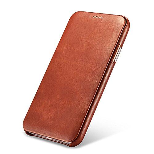 NOVADA iPhone X Echte Ledertasche Echtleder Tasche Etui Schutz hülle Flip Hülle - Vintage Kollektion - Braun