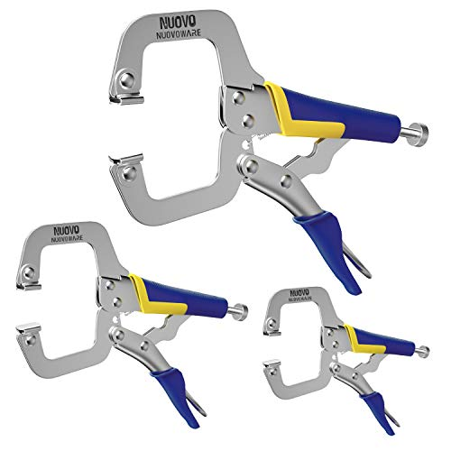 Nuovoware Locking C-Clamp Set 3 Pack, 6' + 9' + 11' Heavy Duty Ergonomic Grip C-Type Locking Pliers Clamping Tools for DIY Woodworking Welding Cabinetry Pocket Hole Joinery for Home & Workshop Use