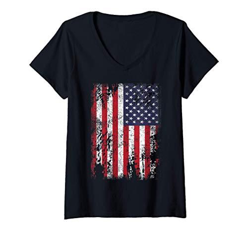 Mujer Distressed USA Flag Retro Vintage American Flag Women Men Camiseta Cuello V