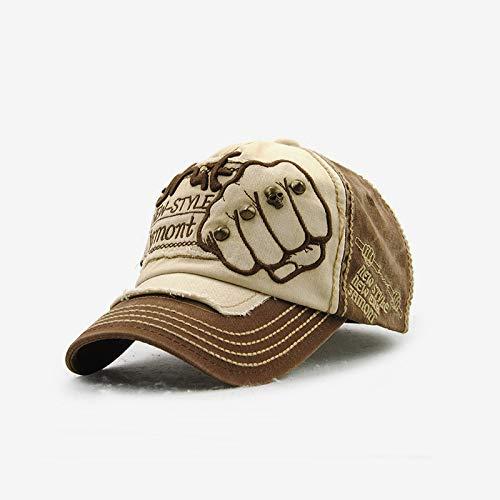 WAZHX Faust Baseball Hut Männer Und Frauen Trendige Mode Buchstaben Weiden Nieten Lässig Kappe Tiefen Kaffee