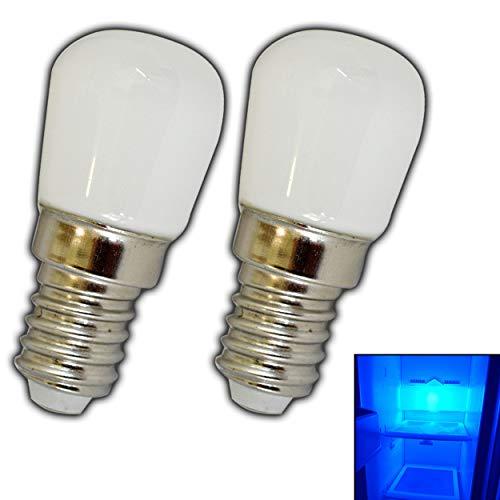 2x Stk. E14 LED Lampe 1,5/2,0 Watt blau/Blaulicht für den Kühlschränke/Lampen uvm. - E14/SES Leuchtmittel Kühlschrank Birne Glühbirne Ersatz (E14 1,5W Glas) (Ausführung, E14 1,5W Glas)