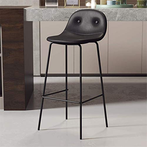 PIAOLING High Stools Dining Chair Upholstered Counter Stool, Bar Stool with Black Leather Ergonomics Seat, Bar | Pub | Café Dining Room Kitchen Max. Load 440lb, with Black Metal Legs