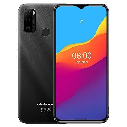 Android 11 Moviles Libres Ulefone Note 10 Teléfono, Dual SIM+SD Dedicada, Batería 5500mAh (Carga Inversa OTG), Octa-Core 32GB, 6.52'' Pantalla Waterdrop, Huella Digital + Identificación Facial Negro