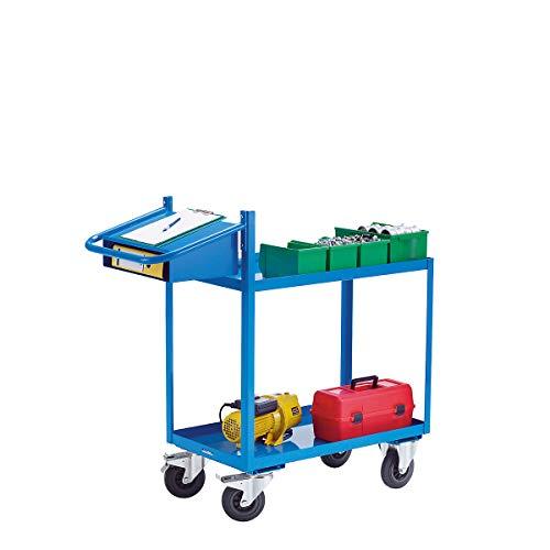 EUROKRAFT Montagehilfswagen, Tragfähigkeit 250 kg - mit Wannenböden, Schreibtafel und Einschubfach - Ladefläche LxB 900 x 500 mm, 2 Etagen - Arbeitstisch Fahrbarer Arbeitstisch