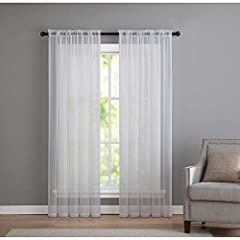 What's Included: (2) Rod Pocket Sheer Voile Curtains Curtain Dimensions: 52 in. W x 84 in. L (Each) 2 Included Fabric Content: 100% High Thread Polyester Color: White Care Instructions: Machine Wash, Do Not Bleach, Tumble Dry Low