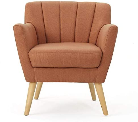 Best Christopher Knight Home Merel Mid-Century Modern Fabric Club Chair, Orange / Natural