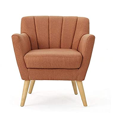 Christopher Knight Home Merel Mid-Century Modern Fabric Club Chair, Orange / Natural