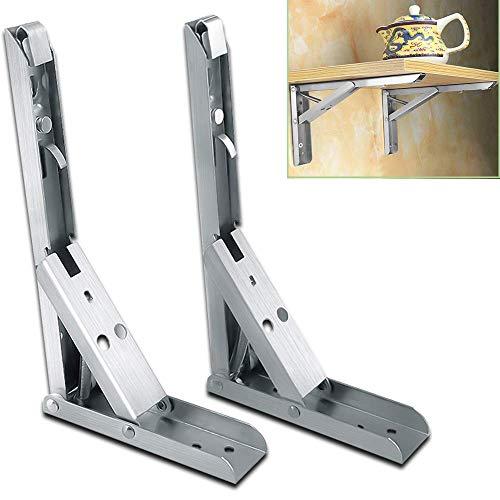 FZYE Soporte de estantería Plegable de triángulo de Metal con Estante de Engrosamiento Estable de Resorte anticorrosión/antioxidante (Plata/Negro) 2 Piezas