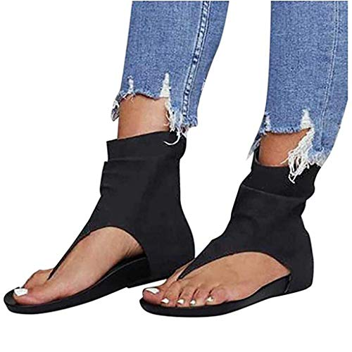 QLIGHA Sandals Women Suede Flat Open Toe Breathable Sandals Female Zipper Casual Beach Shoes Ladies Peep Toe Wedge Walk Sandal,Black,42