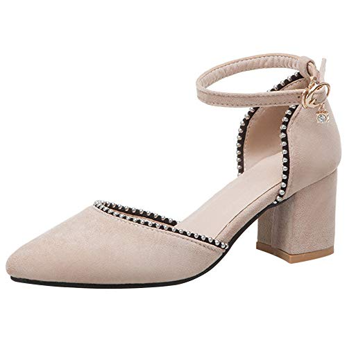 Mediffen Moda Mujer Tacón Ancho Puntiagudo con Tachuelas Sandalias Fiesta Zapatos Mujer Tacón Medio Noche Sandalias Beige Talla 33 Asiática (Ropa)