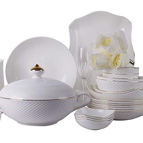 Juego De Vajilla De Porcelana De Hueso De 56 Piezas, Platos De Cena De Porcelana De Cocina, Cuencos, Olla De Sopa, Servicio para 12
