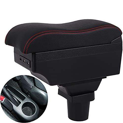 Rtyuiop para Toyota Yaris Vitz Caja de reposabrazos Caja de Almacenamiento de Consola Central ABS + Cuero + Interfaz USB decoración automática