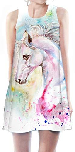 Ocean Plus Niña Verano Flamenco Vestidos de Playa Vacaciones Unicornio Suave Vestido Sin Mangas Cubra Pareos (Altura: 130cm), Caballo de Acuarela