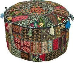 Rajasthali' Bohemian Patch Work Ottoman Cover,Traditional Vintage Indian Pouf Floor/Foot Stool, Christmas Decorative Chair Cover,100% Cotton Art Decor Cushion, 14x22'. Only Cover, Filler not Included
