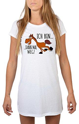 Goodman Design ® Sexy Nachthemd mit Pferde Motiv - Ich Bin dann mal Weg! Nachtshirt, Schlafshirt, Farbe: Weiss