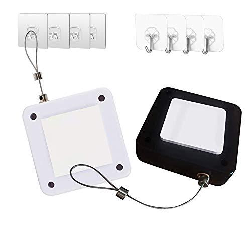Punch-Free Automatic Sensor Door Closer, Multifunctional Automatic Door Closer, Automatically Self Closing Door with Drawstring for Internal Home Outdoor Iron Door (Black& White)