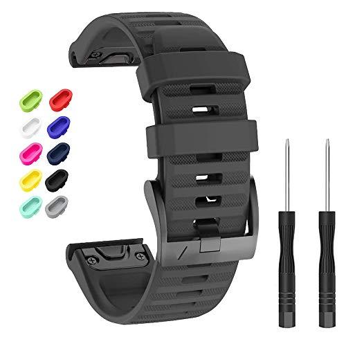 Newcool Compatible con Garmin Fenix 6X/6X Pro Bands 26MM Quickfit Correa de reloj de silicona suave para Fenix 5X/5X Plus/Fenix 3 Pulsera de repuesto Smartwatch + 10 tapones de polvo coloridos (negro)
