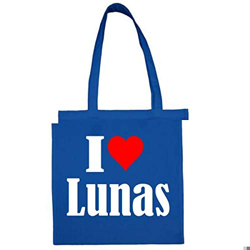 Tasche I Love Lunas Größe 38x42 Farbe Grau Druck Schwarz