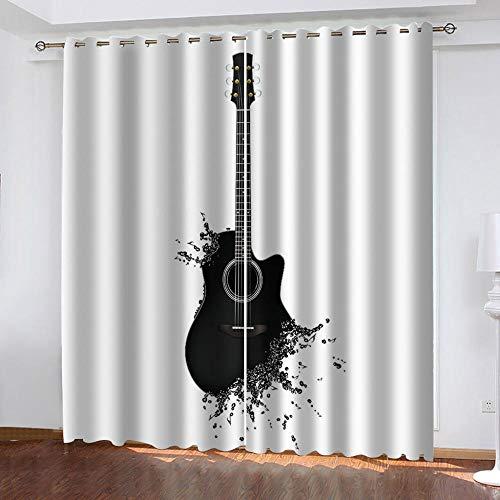 LOVEXOO Cortinas Termicas Aislantes Negro y Guitarra 117x138cm(An x Al) Cortinas Opacas Dormitorio para Ventanas Habitacion Moderna con Trabillas 2 Paneles
